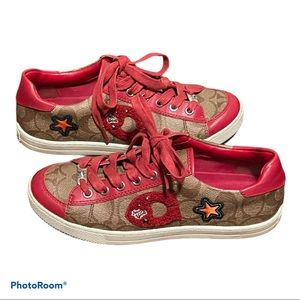 Coach Womens Red Fashion Sneakers Limited Edition